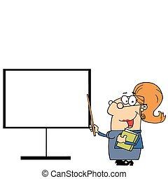 Teacher Pointing To A Blank Board - Happy Female Teacher...