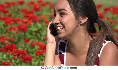 Happy Female Teen Cell Phone Call