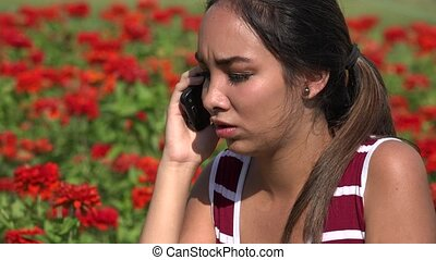 Happy Female Teen Phone Call