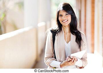 happy female university student