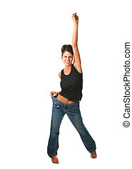 Happy Female Who Met Her Weight Loss Goals and is Elated