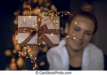 Happy Female with Christmas Gift