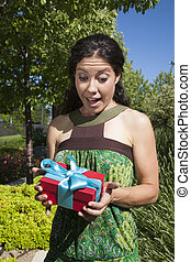 happy female with gift box