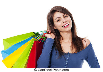 Happy female with shopping bag