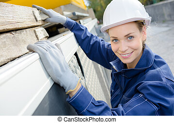 happy female worker outdoors