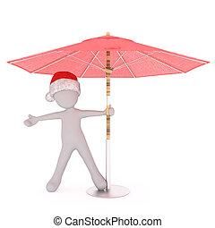Happy festive 3d man under a beach umbrella