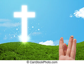 Happy finger smileys with christian religion cross