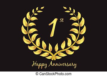 Happy first anniversary vector