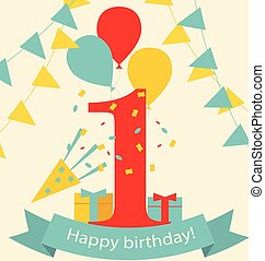 Happy First Birthday Anniversary card with flags, gifts and...