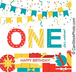 Happy First Birthday Anniversary card with flags, gifts,...