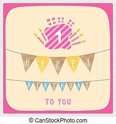 Happy first birthday card