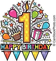 happy first birthday design, happy birthday party, happy birthday label, birthday card