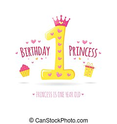 Happy First Birthday. Greeting card for your princess....