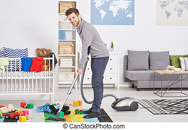 Happy first time dad vacuuming