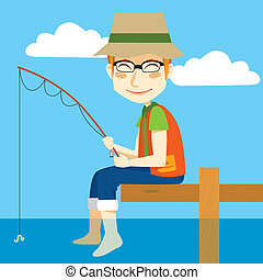 Man sitting on a dock fishing with rod and refreshing feet on water