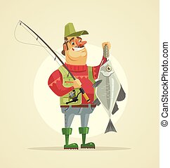 Happy fisherman character hold big fish. Vector flat cartoon...