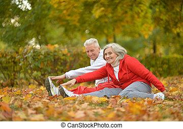 fit senior couple - Happy fit senior couple exercising in ...