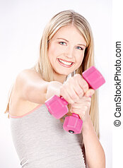 happy fitness woman - Smiled blond hair woman doing fitness...