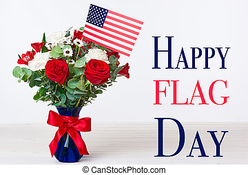 Beautiful bouquet with american flag on white background, Happy flag day concept