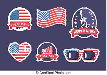 Happy Flag Day Collection Vector Illustration - Happy flag...