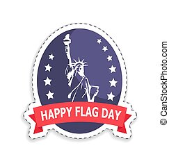 Happy Flag Day Sticker Title Vector Illustration - Happy...