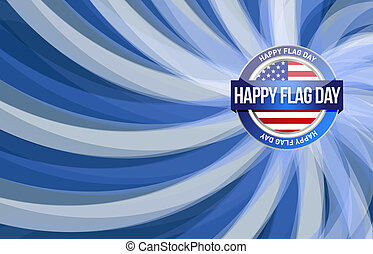 happy flag day us blue wave background