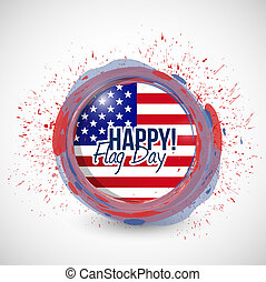 happy flag day us ink stamp illustration