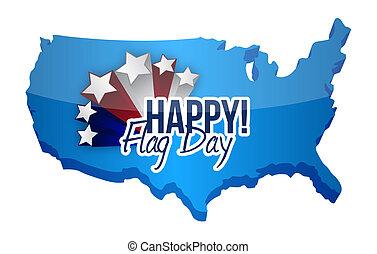 happy flag day us map illustration design