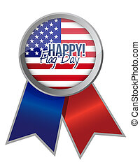 happy flag day us ribbon illustration