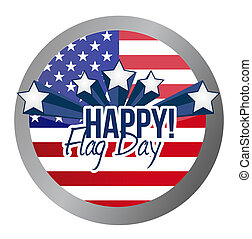 happy flag day us shield illustration design