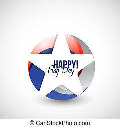 happy flag day us star illustration design