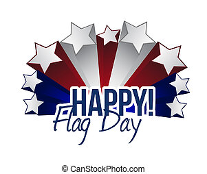 happy flag day us stars illustration design