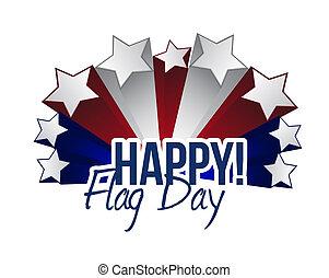 happy flag day us stars illustration design