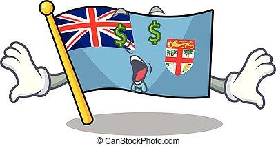 happy flag fiji cartoon with money eye character