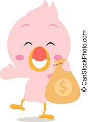 Happy flamingo with money character