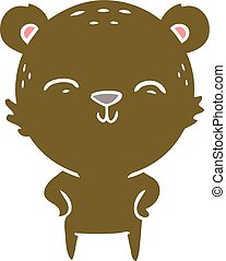 happy flat color style cartoon bear with hands on hips