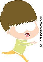happy flat color style cartoon boy running