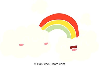 happy flat color style cartoon clouds and rainbow