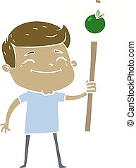 happy flat color style cartoon man with apple placard