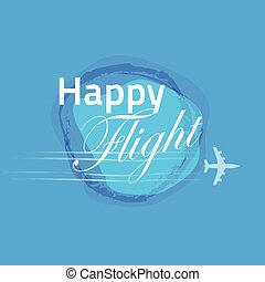Happy flight card blue banner design