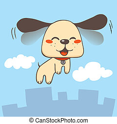 Cute dog smiling flapping ears fast and flying skies over city buildings and clouds