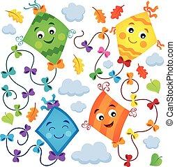 Happy flying kites thematic set 1