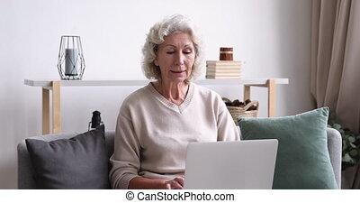 Happy focused senior 60s granny sitting on sofa with laptop...