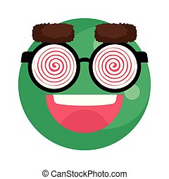 happy fool face emoticon with eyeglasses