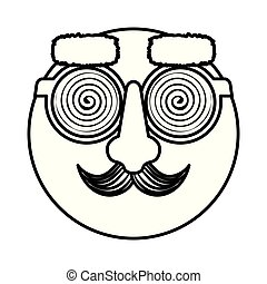 happy fool face emoticon with glasses and mustache