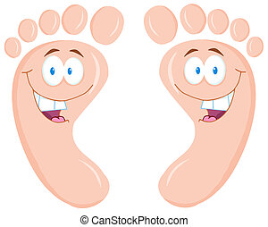 Happy Foot Print Cartoon Characters