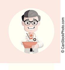 Happy Forensic Pathologist Writing in Notepad Vector