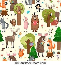 Happy forest animals seamless pattern background