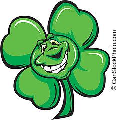 Happy Four Leaf Clover Shamrock Car - Cartoon Vector...