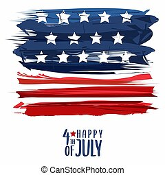 Grunge vector illustration of Happy Fourth of July or the United States of America independence day print design